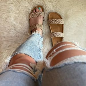 Beige Aztec Tribal Woven Banded Footbed Sandals